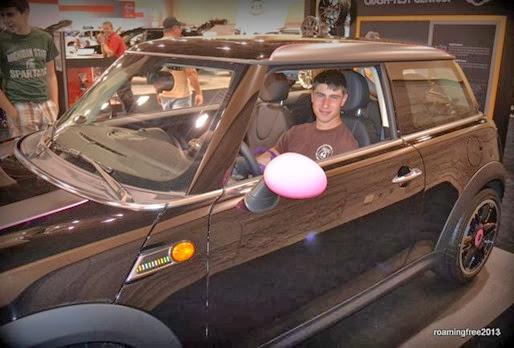 Man enough to drive a pink car!