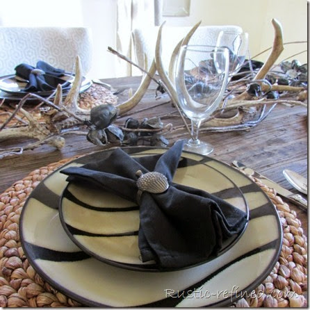 Woodsy tablescape using rustic touches
