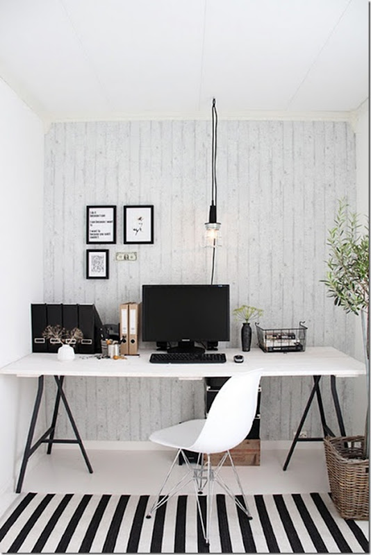 Black and white office -design addict mom
