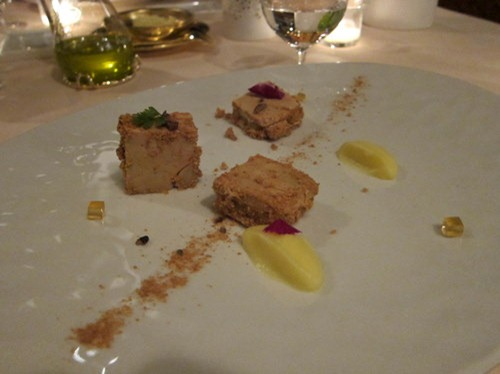 Duck foie gras with apple, almond and amaretti