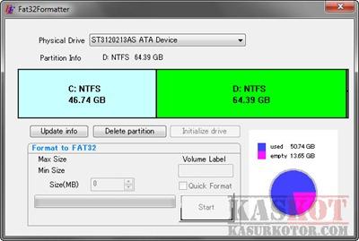 Format Hard Disk Lebih Besar dari 32GB ke FAT32 di Windows