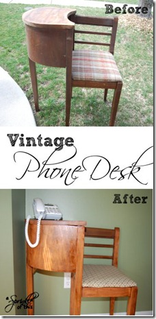 Phone Desk Before and After {A Sprinkle of This . . . . A Dash of That}