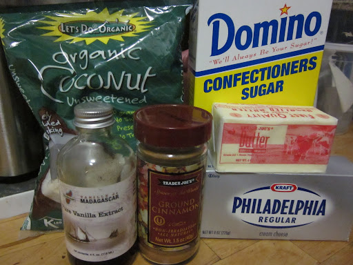 All you need to make my version of the candy is 1/2 stick butter, 4 oz cream cheese, 8 oz flaked coconut, 16 oz confectioner's sugar, 1 tb vanilla extract, and cinnamon.