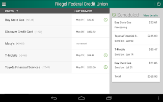 Screenshot of Riegel Federal Credit Union