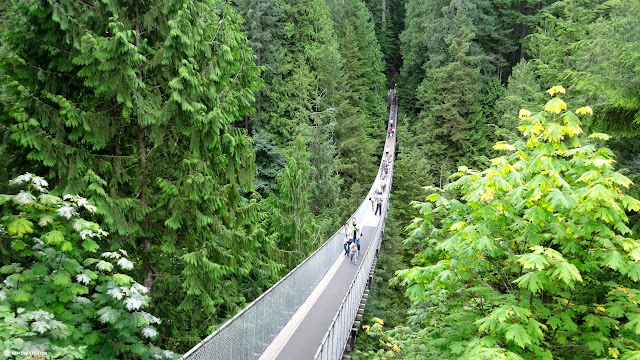 crossing the Capilano Suspension Bridge in North Vancouver, British Columbia, Canada
