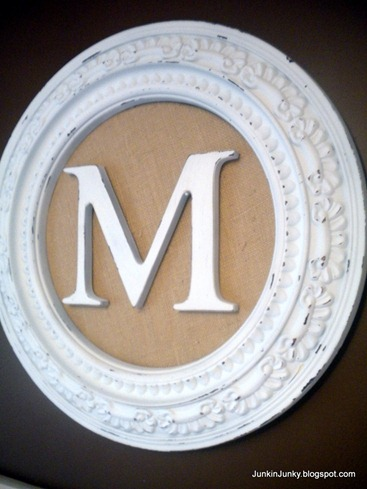 Framed Monogram at JunkinJunky.blogspot.com