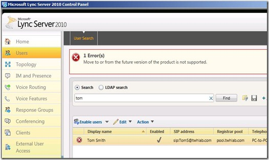 Lync Coexist Admin - 2010 CP move to 2013 (error)