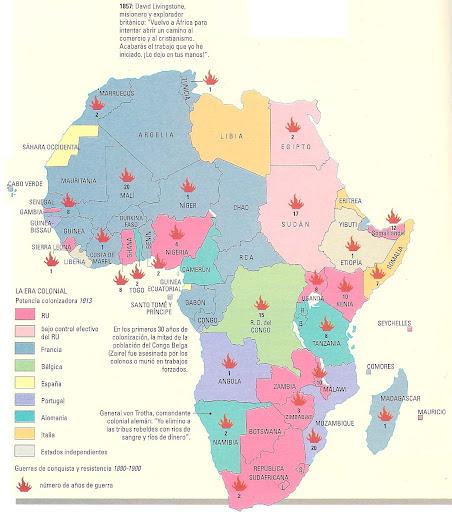 Mapa  Mapa de la Colonizacin o Reparto de frica Scramble for