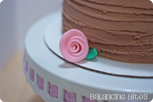 Chocolate Buttercream Ridged Cake Pink Ribbon Rose