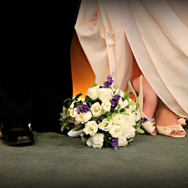 Expectations by Freda Nichols - Wedding Bride & Groom ( shoes, female, wedding, male, flowers, artistic, object )