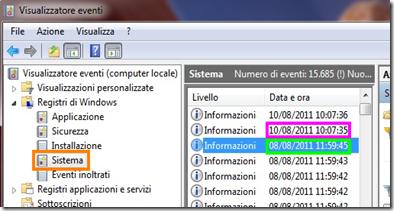 Visualizzatore eventi Windows 7