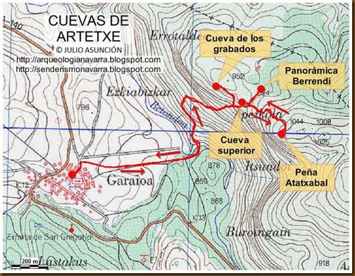 Mapa Cuevas de Artetxe - Garaioa - Valle de Aézkoa
