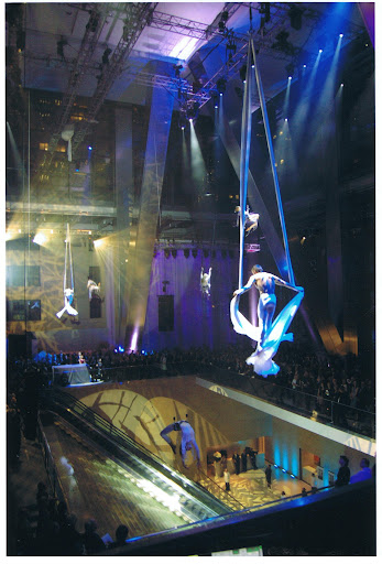 The performance took place in the tower's atrium.