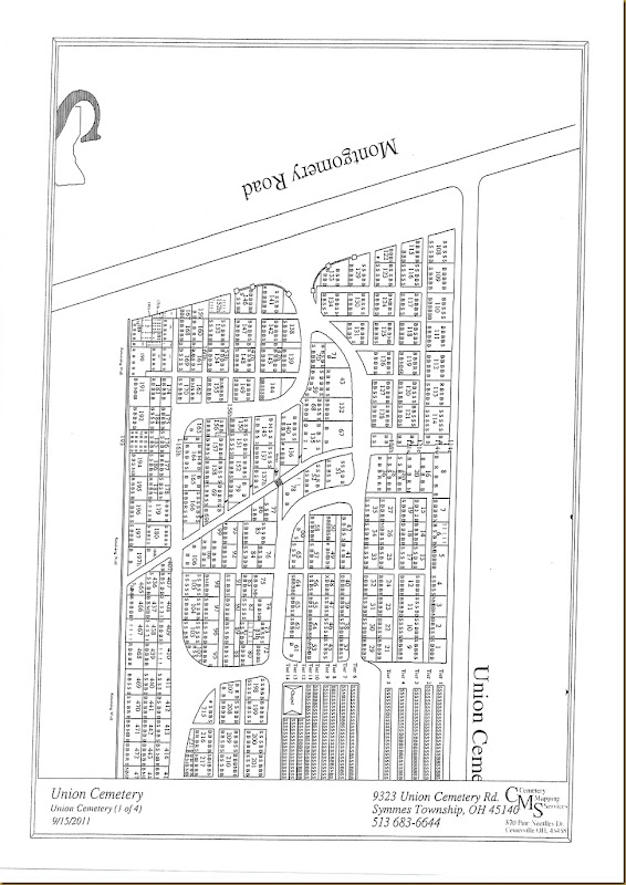 Harper's gravesite location on Union Cemetery Map