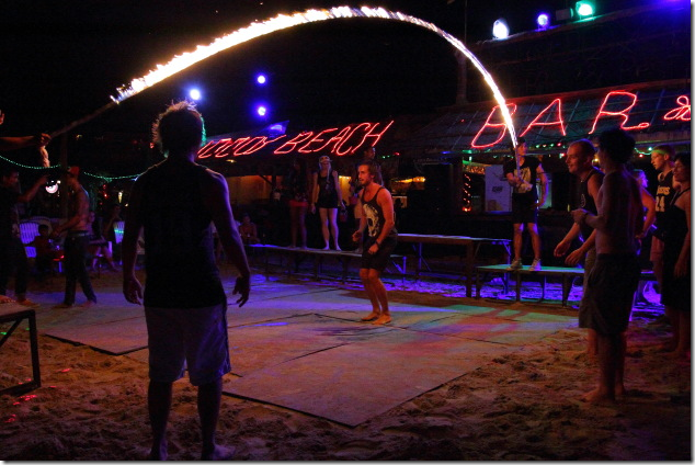 Getting ready to jump over the fire rope at Ko Phi Phi
