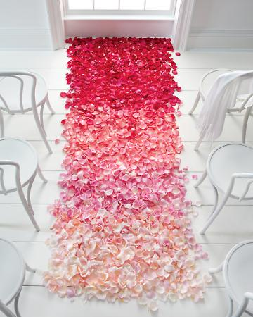 ombre wedding aisle flower petals