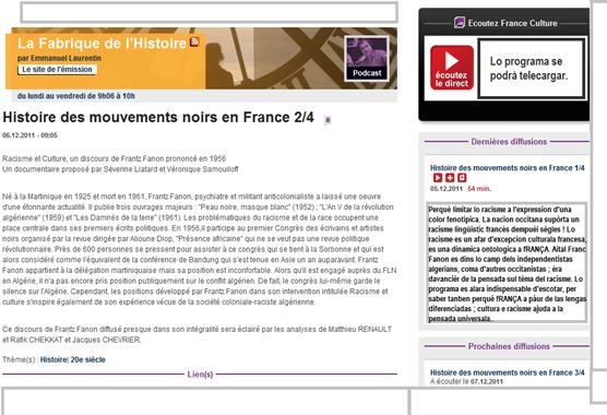 France Culture Franc Fanon