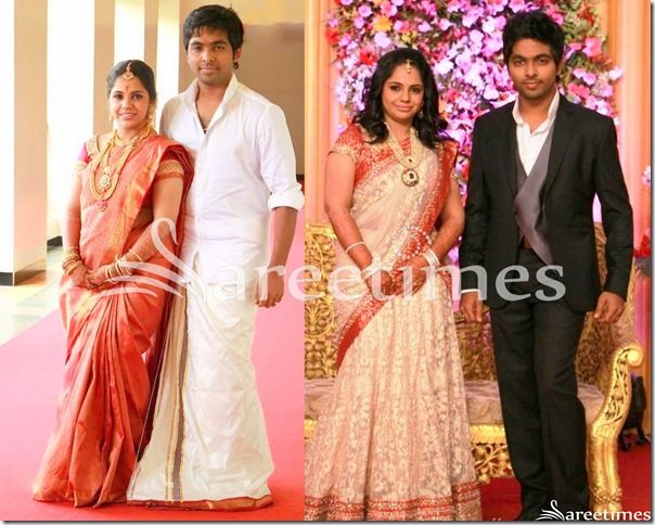 GV Prakash Wedding And Reception Saree