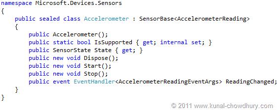 WP7.1 Demo - Accelerometer Class