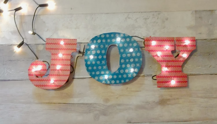 DIY marquee lights joy sign