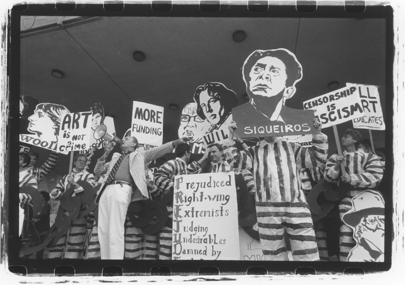 The Freedom of Expression Coalition and ACT UP Los Angeles protest censorship of the arts at the downtown Federal building. March 1, 1990.
