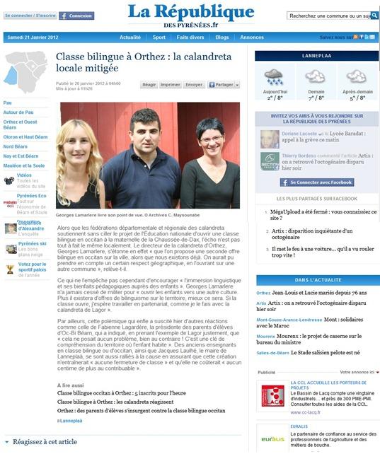 ensenhament de l'occitan a Ortès calandreta contra ensenhament bilingüe d'Estat
