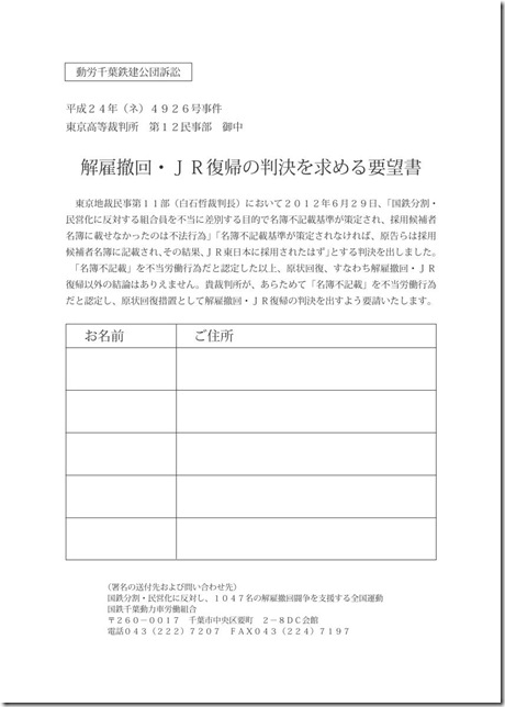 鉄建公団訴訟要望書(連記)
