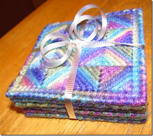 Lovely Kaleidoscope Coasters---a Christmas gift they'll use year round.  Tutorial at Homeschooling Hearts & Minds