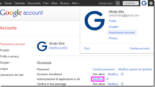 Autorizzazione di applicazioni e siti Google account