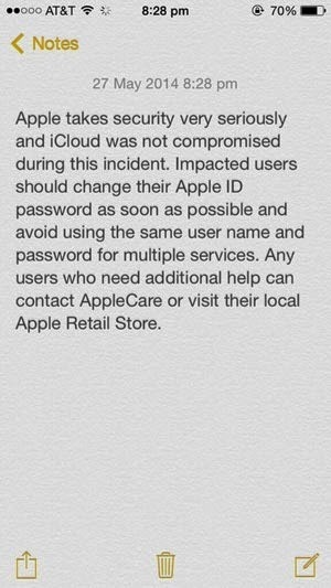 Apple's response to the attacks blaming poor password practices