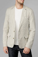 Linen Blazer In Almond Grey