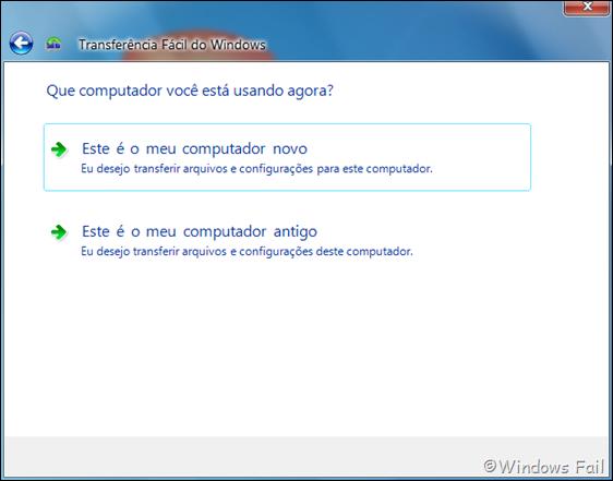 Defina se o computador que está usando é o antigo ou novo clicando na opção correspondente