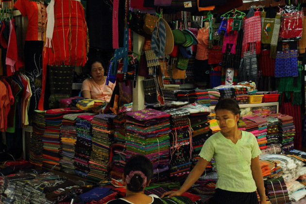 Textile shop in the Bogyoke Aung San Market, Yangon, Burma