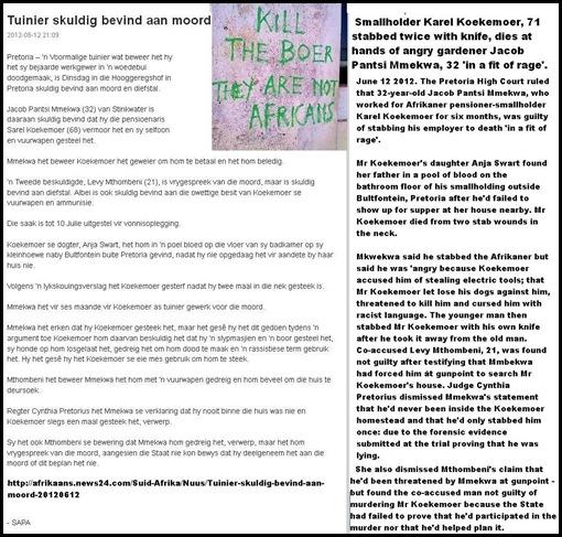 KOEKEMOER Sarel smallholder Bultfontein Pretoria stabbed to death by garner Jacob Pantsi Mmekwa 32 in FIT OF RAGE June122012
