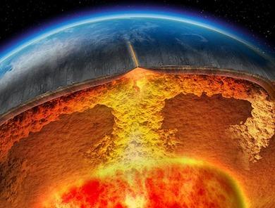 ilustração da variação do calor no interior da Terra