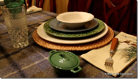 A Walk in the Countryside: Winter Tablescape with Plaid wool blanket