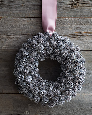 This is one of the easiest wreaths we've ever made. No fussing over symmetry or bending of boughs -- just some spray paint, a hot-glue gun, and floral wire.