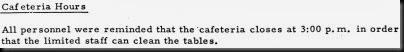Cafeteria Hours