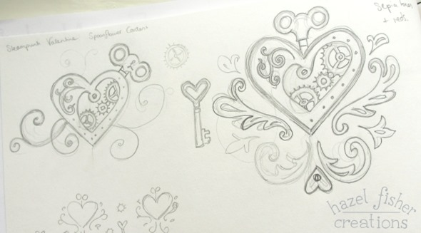 steampunk valentine spoonflower contest entry surface pattern design sketchbook hazel fisher creations 06Feb2015