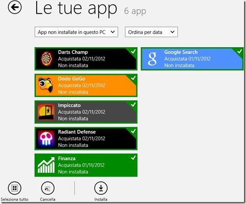 Windows 8 schermata delle app disinstallate