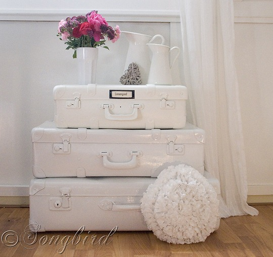 Painted White Suitcases 1
