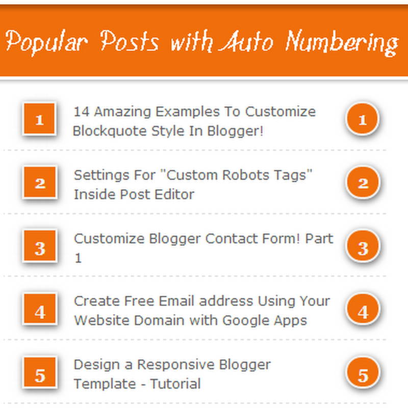 Popular Posts With Automatic Numbering - Bubbles!
