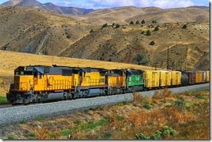 Four Locomotives Hauling Train ca. 1990s