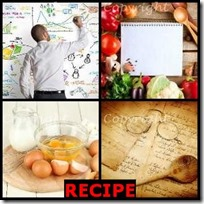RECIPE- 4 Pics 1 Word Answers 3 Letters