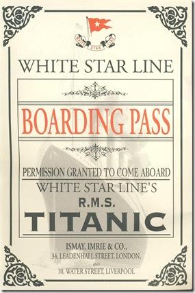 Cartão de embarque entregue na Exposição Titanic no Brasil