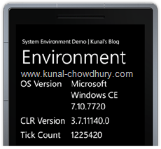 System.Environment Information in Windows Phone 7