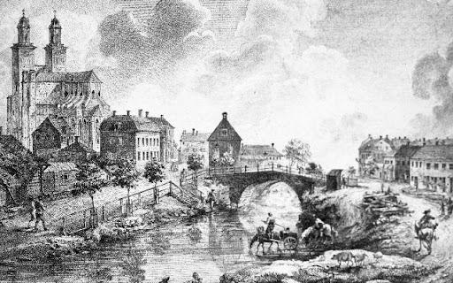 bild av Uppsala från början av 1700-talet