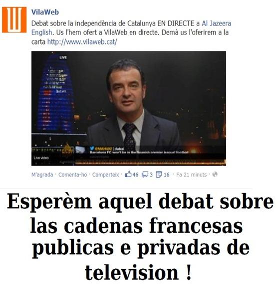 Debat televisat sobre la manifestacion d'independéncia en Catalonha