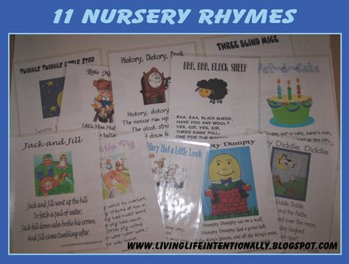 11 Nursery Rhyme Sheets