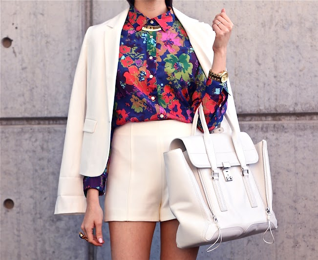 White short suit w/ Floral
